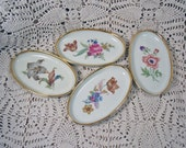 4 Vintage Oval Floral Dishes Butter Pats Trinket Bone Dish DENMARK Porcelain Mint