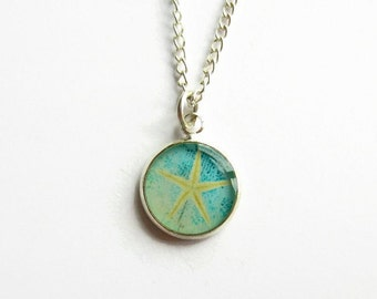 Tiny Turquoise Blue Starfish Necklace, Beach Jewelry, Sea Star Picture Pendant, Beach Wedding, Bridesmaid Gift