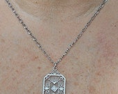 Lovely Sterling Camphor Glass Art Deco with Natural Tiny Diamond on  Rhodium Plated Necklace. Excellent.  Only 99.90.