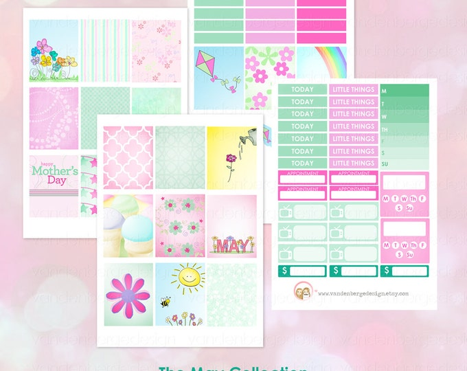 The May Collection- Weekly Planner Sticker Kit for Erin Condren Life Planner or The MAMBI Happy Planner