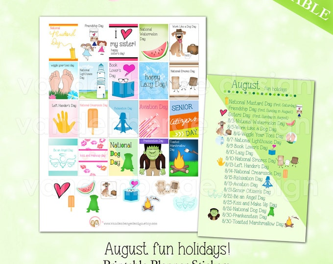 Printable Planner Stickers -August Fun Holidays -Files included for the vertical Erin Condren Life Planner & The MAMBI Happy Planner