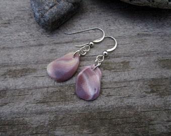 Wampum Earrings - Beach Combed Purple Quahog Shell 2 - Hand Polished Suckáuhock