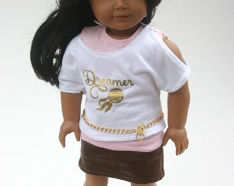 Follow Your Heart boho chic outfit made to fit your 18 inch doll such as american girl 4 piece set, skirt, top, tank, and belt