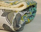 Plush fleece Baby Blanket/Modern Quilt - girl - grey, teal, yellow floral