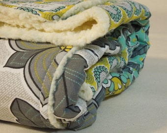 Plush fleece Baby Blanket/Modern Quilt - girl - grey, teal, yellow floral