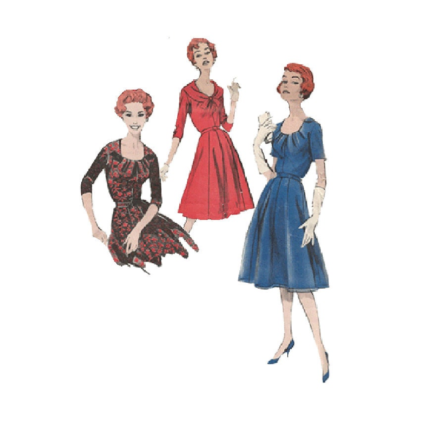 Draped Gown Pattern: Elegant 1950s Draped Neckline Dress Sewing Pattern By