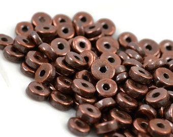 20 Mykonos Washer - 6mm Bronze - Metalized Greek Ceramic Beads