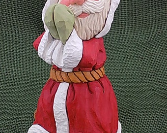 Hand Carved Wood Praying Santa