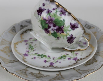Antique Tea Cup Trio Mismatched China Cottage Chic China Shipping