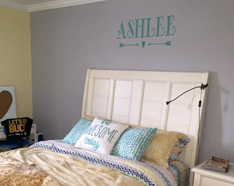 Personalized Name Fancy Cursive Script Vinyl Wall Decal - Custom vinyl wall decals canada   how to remove