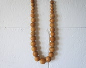 Vintage Beaded Statement Necklace, Wood