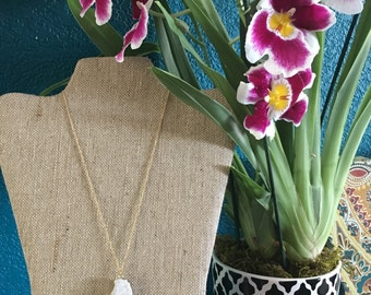 White & Gold Drusy Necklace