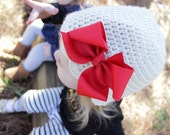 Girls Hairbow Hat, Crochet for Baby, Toddler, and Child, Beanie Hat with Removable Hair Bow, Made to Order, Valentines gift idea for Girl