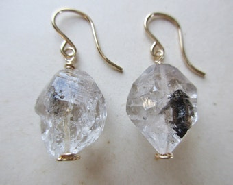 herkimer diamond earrings, herkimer drop earrings, raw quartz earrings, diamond earrings, herkimer quartz jewelry