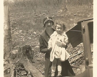 Vintage Snapshot - Flapper Mom and Child - Small Vintage Photo - Cloche - High Button Shoes - Old Car - Found Vernacular Photo