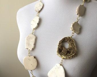 White Turquoise Bronze Agate Druzy Statement Necklace - Serena Van Der Woodsen Inspired Necklace - Gossip Girl Necklace - Boho Collection