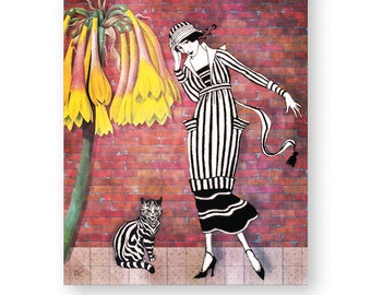 """Whimsical Art Print, Cat Lover, Mixed Media Collage, Art For Girl's Room, Nursery Decor, 8 x 10 (larger sizes available) """"Fast Friends"""""""