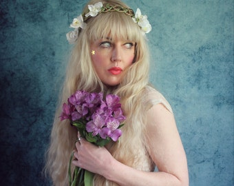 Delicate orchid headband, white floral crown