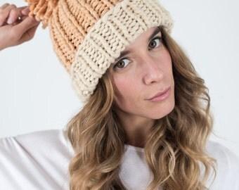 Chunky Knit hat, Slouchy hat beanie, Pom pom beanie, Merino wool hat Orange