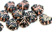Black glass leaves, Czech glass leaf beads, Maple black leaves with copper inlays - 11x13mm - 10Pc - 2618