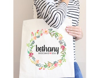 Custom Tote Bag, Bridal Party Tote Bags, White Poly Canvas Tote Bag, Floral Wedding Tote, Bridesmaid Tote Bag, Personalized Name Tote Bag