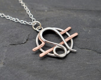 Leo Libra combined zodiac necklace sterling silver