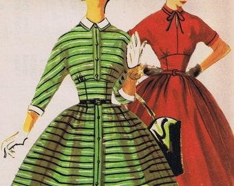 1950's Vintage Sewing Pattern, Misses One-Piece Dress, Simplicity 4830, Uncut Factory Folded