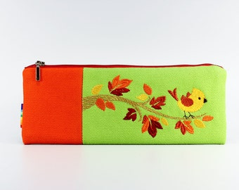 Embroidered Pencil case / Purse / Pouch
