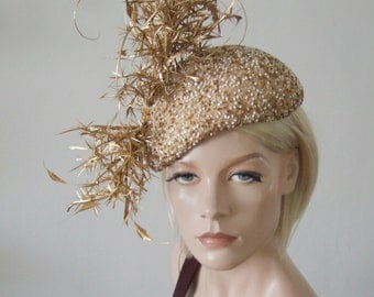"""Gold White Silk Beaded Curled Feather Branch Beret Headpiece Derby Ascot Hat """"Dulcinea"""" FG0201 Mother of the Bride Racing Fashion Wedding"""
