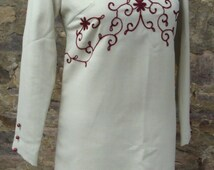 PALE GRAY MINI shift dress crewel embroidery 60's 70's mod xs