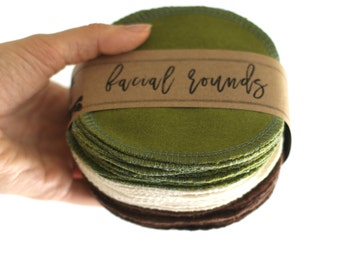"""Facial Rounds  Face Cloth - Make-up Remover - Facial Rounds - 4"""" Face Wipes - Set of 30 -- (3 Color Set)"""