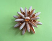 Mid Century Atomic Pin Layered Lucite Spike Jewelry Orange and White Vintage Costume Jewelry Brooch Flower