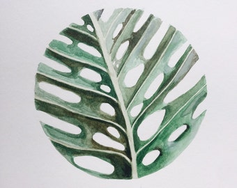 Circular Monstera Leaf - Original Watercolor