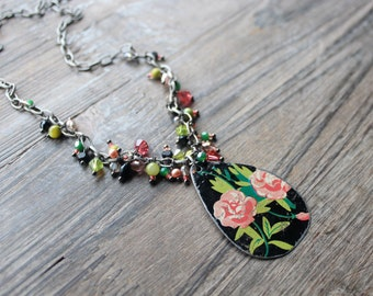Vintage Rose Necklace, Antique Tin Pendant with Earrings and Handmade Charms