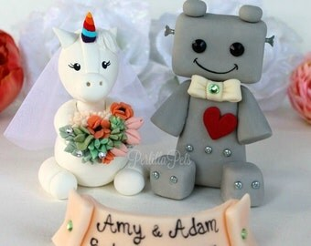 Unicorn bride and robot groom wedding cake topper, geek fantasy wedding, customizable