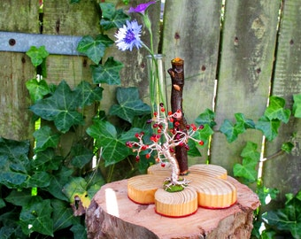 Tree Of Life Tube Vase ~ Copper Wire Tree Sculpture With Czech Glass And Swarovski Elements