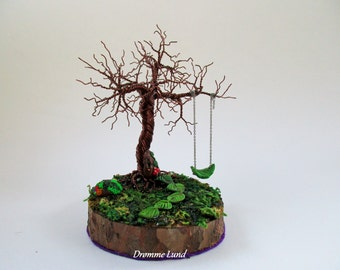 Fairy Tree (Decorative OOAK  Tree Sculpture With Fairy Door And Swing)