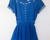Upcycled vintage women's dress / large / jean / summer