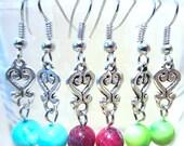 Silver Charm & Swirled Agate Earrings, Silver Heart Charms Semi Precious Stone Beaded Earrings, Silver Chandelier Earrings Exotic Handmade