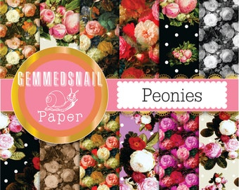 Peony digital paper 'peonies' flower backgrounds still life artists tribute digital paper set x 12