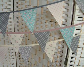 Mini bunting, banner. Tilda fabrics, grey, aqua/teal, ivory, pink.  Per metre. Choice of tape colour. 7x11cm mini-flags.
