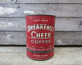 Vintage Tin Coffee Can Breakfast Cheer Red Metal Tin Container Storage Display Country Farm Retro Kitchen Rustic Primitive Vtg Old Tin Can