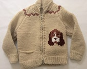 Vintage 1970s 80s Little Boys Girls Puppy Sweater 4 5 6