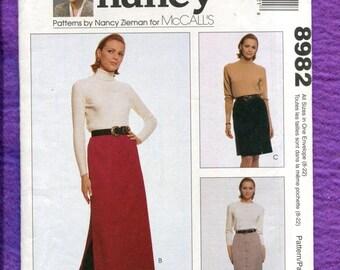 McCalls 8982 Slender Side Slit Straight Skirts Size 8 to 22 UNCUT