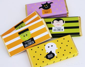 HALLOWEEN Candy Bar Wrapper for Hersheys Bars - Trick or Treat - witch, vampire, Frankenstein and ghost - Print Your Own