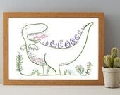 Personalised Dinosaur Print, Kids and Baby Gift Print, Personalised New Baby Gift Print, Dinosaur Nursery Wall Art
