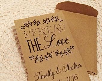 20+ Custom Seed Packet Wedding Favor Spread The Love Personalized Favour Envelope DIY Wedding Seeds Herbs Flower Fill Your Own Spread Love