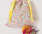Sprinkles Drawstring Party Favor Bag, Goodie Bag, Gift Wrap, Shoe Bag, Candy Sack, Toy Bag, Fabric Gift Bag - Set of 8