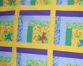 Unfinished Quilt Top - 42 x 42 - Children Quilt - Frogs - Bright colors
