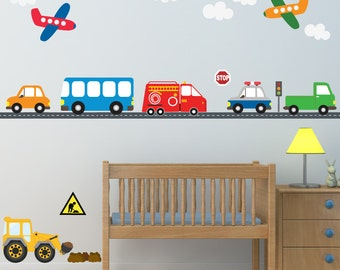 Boys Cars Airplanes Truck Wall Decals, Reusable Fabric Decals, Ecofriendly No Toxins No PVCs Decals, WD46
